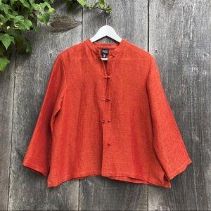 Eileen Fisher rust orange Asian style linen jacket